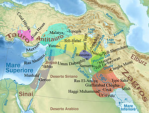 Tell Hassuna - Ancient Near East in 5200-4500 BC (Middle Halaf period) showing Hassuna culture location