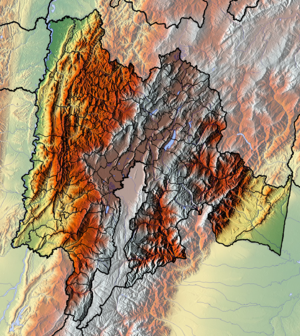 Sutagao people - Topographical map of Cundinamarca. The Sutagao lived in the south of the department, including the greyed out southern Bogotá area; Sumapaz