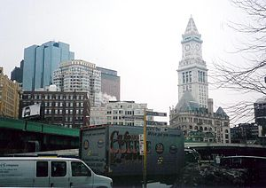 Custom House Tower - The Custom House Tower as seen from the Boston waterfront during the Big Dig.