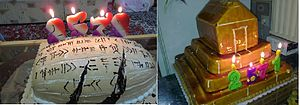Tomb of Cyrus - A cake in the shape of the Cyrus Cylinder and a cake in the shape of the Tomb of Cyrus at Pasargadae