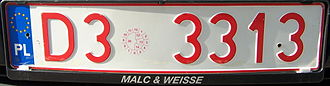 Vehicle registration plates of Poland - Polish temporary plate from the Lower Silesian Voivodeship
