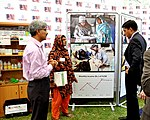 Dairy project benificiary sharing her experiances with Dr. Shah (6927231236).jpg