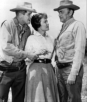 John McIntire - With Wagon Train guest stars Dan Duryea and Jane Wyman, 1962