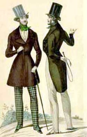 Dandy - Sporty Parisian dandies of the 1830s: a tight corset helped one achieve his silhouette. The man on the left wears a frock, the man on the right wears morning dress.