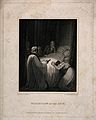 Death-bed scene, figures crowd around a dying person's bed i Wellcome V0015172.jpg