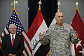 Defense.gov News Photo 100901-F-6655M-020 - Secretary of Defense Robert M. Gates left listens to Gen. Raymond T. Odierno thank members of his staff during a ceremony at Al Faw Palace at Camp.jpg