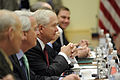 Defense.gov News Photo 110608-D-XH843-005 - Secretary of Defense Robert M. Gates conducts a bilateral meeting with Australian Defense Minister Stephen Smith at the NATO headquarters in.jpg