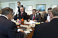 Defense.gov News Photo 120416-D-BW835-062 - Secretary of Defense Leon E. Panetta meets with the Defense Minister of Macedonia Fatmir Besimi in the Pentagon on April 16, 2012.jpg