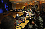 Defense.gov News Photo 120626-D-VO565-001 - Chairman of the Joint Chiefs of Staff Gen. Martin E. Dempsey center meets with Commander of Strategic Command Gen. Robert Kehler and his staff at.jpg