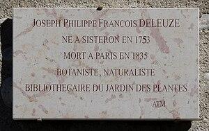 Joseph-Philippe-François Deleuze - Commemorative plaque, rue Deleuze, in Sisteron.