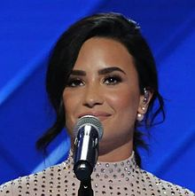 Demi Lovato at the Democratic National Convention, July 2016 (cropped B).jpg