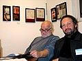 Der Künstler Klaus Weiße und der Galerist Martin C. Wolfstein von der Galeria Lunar auf der Art (F)Air 2012, Messe für zeitgenössische Kunst in Hannover.jpg