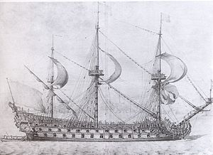 French ship Royal Louis (1668) - Image: Dessin p pujet supposc 3a 9 reprc 3a 9sentc 3a 9 le royal louis 16692