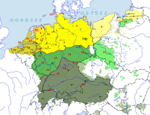 0d8c76ebd2b6 German-Dutch language area before and after the flight and expulsion of  Germans (1944-1950) from much of eastern and central Europe.