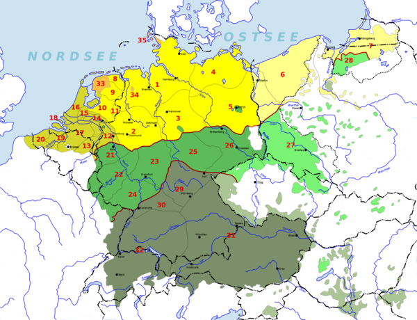 German-Dutch language area before and after the flight and expulsion of Germans (1944–1950) from much of eastern and central Europe. Areas in the east where German is no longer spoken are marked by lighter shades.