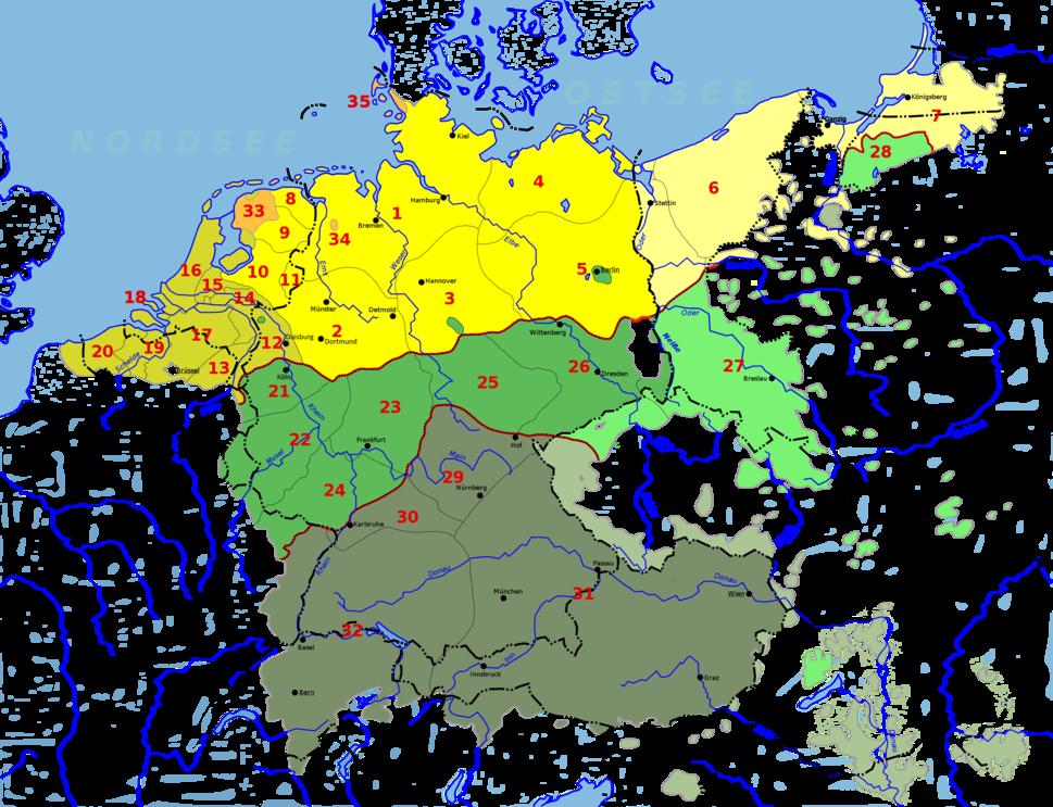 Deutsch-Niederländischer Sprachraum (nach Werner König)