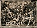 Diana (Artemis) and Actaeon. Engraving by E. Sadeler after C Wellcome V0048184.jpg