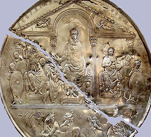 Missorium of Theodosius I - A copy of the Missorium of Theodosius in the Museum of Mérida, Spain.