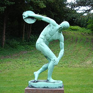 Discus throw - Modern copy of Myron's Discobolus in University of Copenhagen Botanical Garden, Denmark