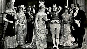 Disraeli (1921 film) - George Arliss (third from right) in the 1921 silent version of the film