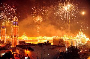 Bandi Chhor Divas - Festive fireworks at  Harmandir Sahib temple on Bandi Chhor Divas