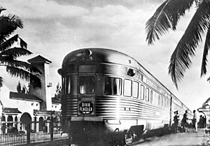 Dixie Flagler - The tavern-lounge-observation car Lake Worth brings up the rear of the Dixie Flagler in Hollywood, Florida in 1941