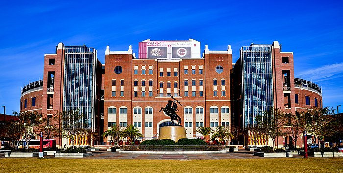 Doak Campbell Stadium from Langford Green Doak Campbell Stadium Entrance FSU.jpg