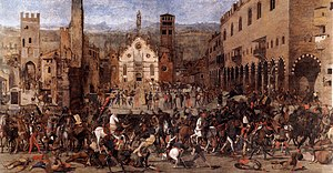 Mantua - Expulsion of the Bonacolsi in 1328, scene of Piazza Sordello, canvas of Domenico Morone