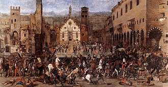Mantua - Expulsion of the Bonacolsi in 1328, scene of Piazza Sordello, canvas of Domenico Morone.