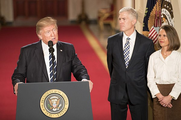 Judge Neil Gorsuch, his wife Louise, and President Donald Trump during the announcement in the East Room of the White House. Donald Trump with Neil Gorsuch 01-31-17.jpg