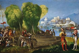 Alfonso I d'Este, Duke of Ferrara - Aeneas and Achates on the Libyan shore, painted by Dosso Dossi for Alfonso's camerino d'alabastro (National Gallery of Art, Washington).