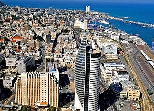 Downtown Haifa, including the port and the sail tower