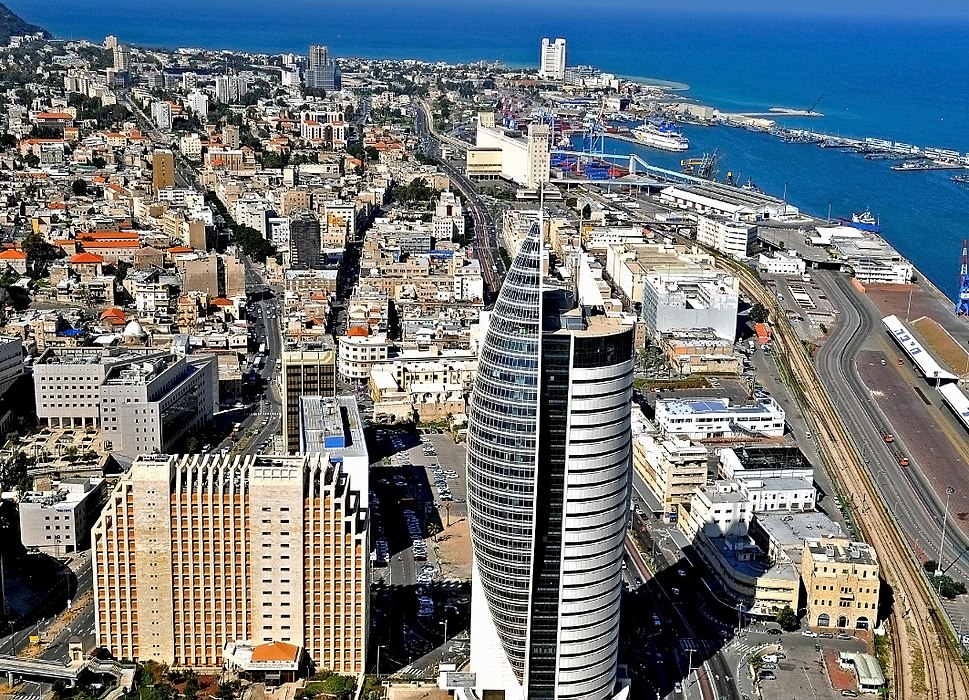 Downtown Haifa including the port and the sail tower