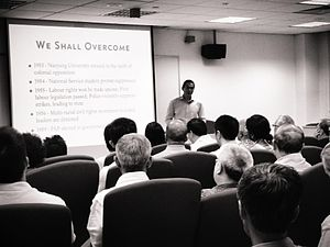"Thum Ping Tjin - Dr Thum Ping Tjin delivering a lecture, ""Merger, Acquisition, or Takeover? The Enduring Consequences of Operation Coldstore in Singapore"" at the Asia Research Institute, National University of Singapore, Singapore, on 17 September 2013"