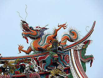 Lungshan Temple of Manka - Image: Dragon on Longshan Temple
