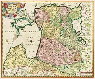 Swedish Livonia - Image: Ducatuum Livoniae et Curlandiae Nova Tabula, 1705