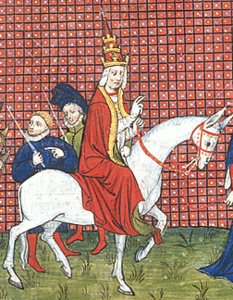 Duke of Anjou leading Pope Gregory XI to the palace at Avignon, while cardinals follow (cropped).png