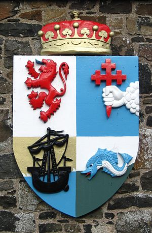 MacDonnell of Antrim - The arms of the MacDonnells of Antrim, as displayed at Dunluce Castle.