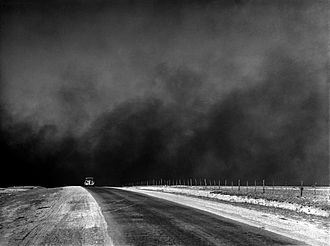 Picture showing a dust storm during the Dust Bowl period, Texas Panhandle, TX Dust bowl, Texas Panhandle, TX fsa.8b27276 edit.jpg