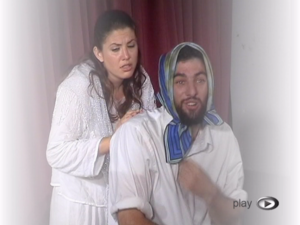 "Technion theater - The two actors of the Technion Theater on stage, playing The ""Dybbuk for Two"", based on Anski's play"