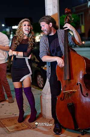 Haley Reinhart - Reinhart and Casey Abrams performing, June 2014