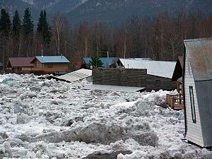 Ice dam - The town of Eagle, Alaska, is inundated by flood water and ice flows after an ice jam formed on the Yukon River downstream.