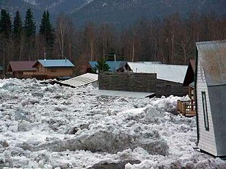 Ice jam - Eagle, Alaska, inundated by flood water and ice floes after an ice jam formed downstream on the Yukon River.