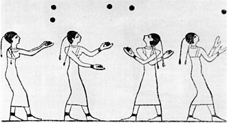 "Juggling - This ancient wall painting appears to depict jugglers. It was found in the 15th tomb of the Karyssa I area, Egypt. According to Dr. Bianchi, associate curator of the Brooklyn Museum ""In tomb 15, the prince is looking on to things he enjoyed in life that he wishes to take to the next world. The fact that jugglers are represented in a tomb suggests religious significance."" ... ""round things were used to represent large solar objects, birth, and death."""