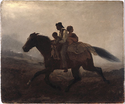 Eastman Johnson (American, 1824-1906). A Ride for Liberty - The Fugitive Slaves (recto), ca. 1862. Oil on paperboard. Brooklyn Museum Eastman Johnson - A Ride for Liberty -- The Fugitive Slaves - Google Art Project.jpg