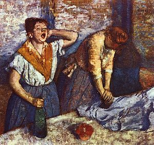 Yawn - Two women ironing, one with a yawn, by Edgar Degas