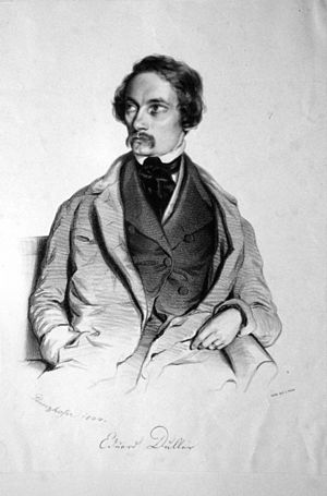 Eduard Duller - Eduard Dulleer, lithograph by August Prinzhofer, 1844