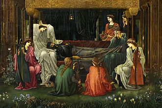 Le Morte d'Arthur - The Last Sleep of Arthur in Avalon (begun 1881), detail, by Edward Burne-Jones (d. 1898), greatly influenced by Le Morte d'Arthur throughout his career