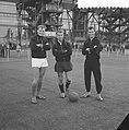 Eerste training van Feyenoord Gerard 'Pummie' Bergholtz, Frans Bouwmeester en C, Bestanddeelnr 912-8202.jpg