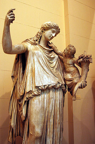 Peace - Statue of Eirene, goddess of peace in ancient Greek religion, with her son Pluto.